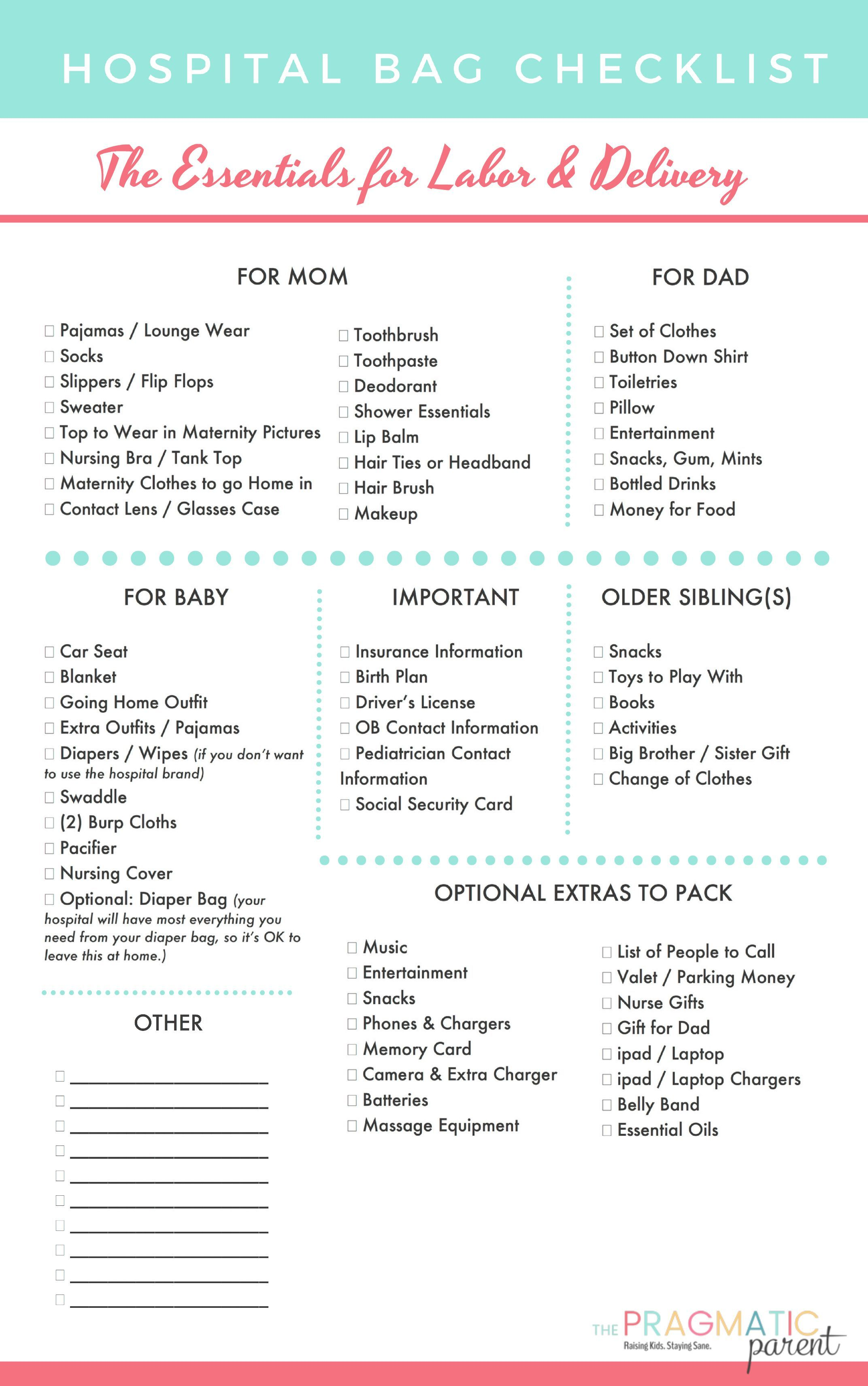 free printable labor  u0026 delivery hospital bag checklist