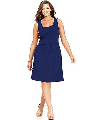 Charter Club Plus Size Sleeveless A-Line Dress - Plus Size ...