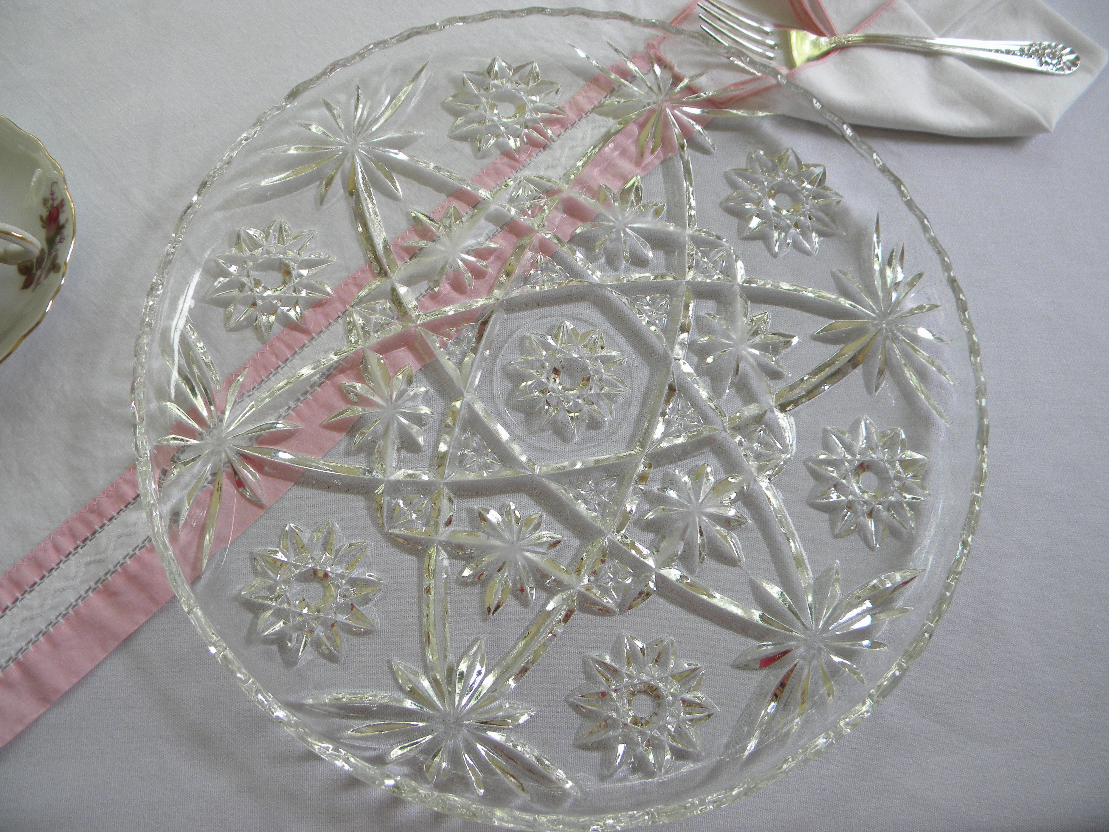 With vintage glass cake plate indian