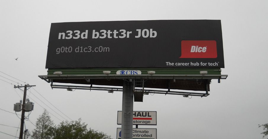 Dice.com billboard by Barkley Kansas.