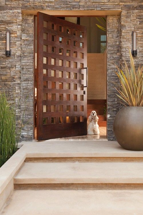 I like the door and exterior stone. Not the dog. Exterior Design Ideas,  Pictures, Remodel and Decor