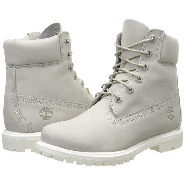 02358e6616 Timberland 6 Premium Boot (Light Grey Nubuck) Women s Lace-up Boots ( 136)  ❤ liked on Polyvore featuring shoes