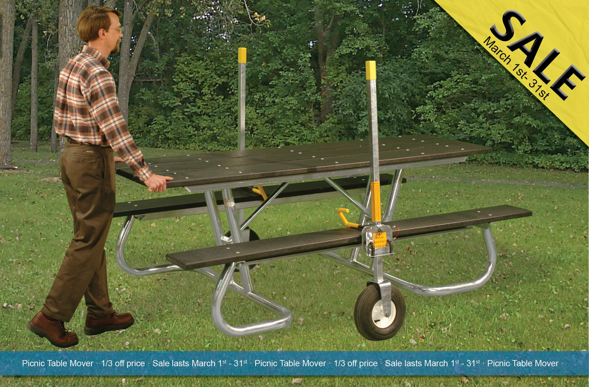 The Picnic Table Mover Can Carry Up To Lbs Of Table Weight And - Picnic table mover