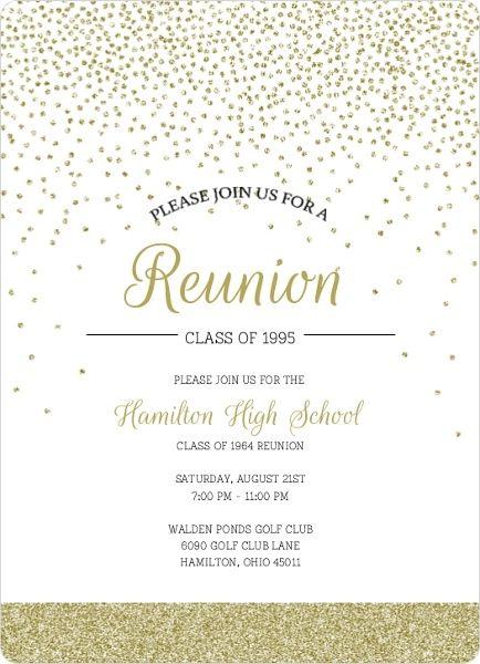 Gold Glitter Class Reunion Invitation by InviteShop