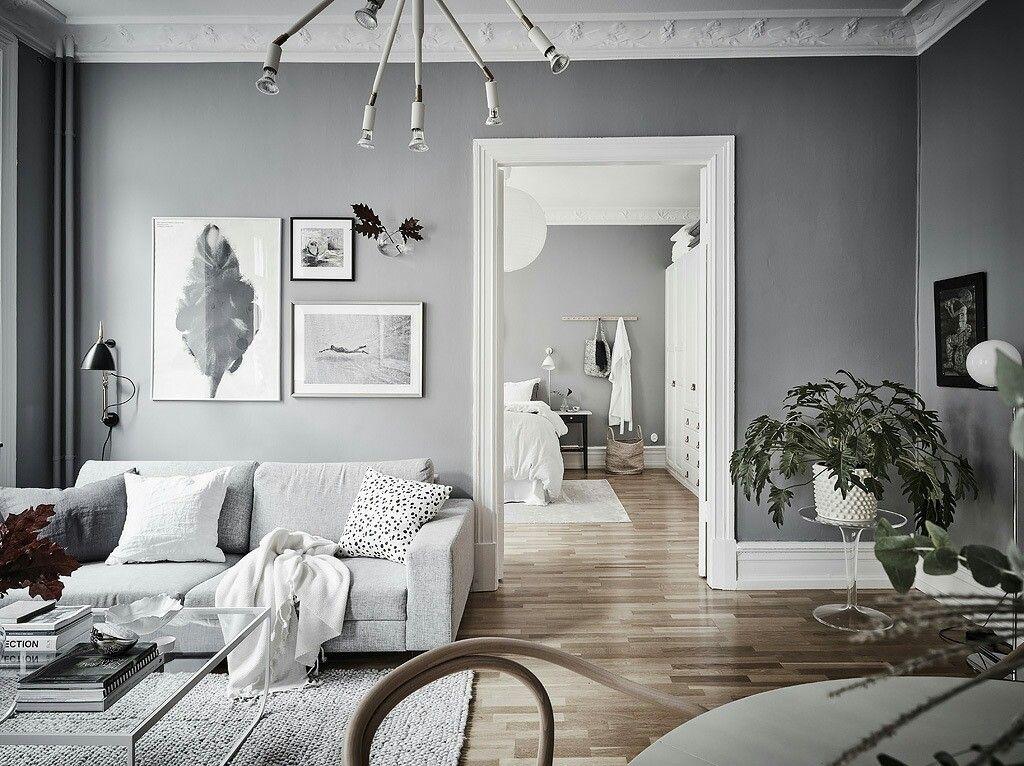 Livingroom Neutral Colours Sofa Grey Rug Modern Lamp Black Wood