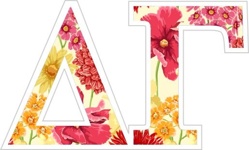 Delta Gamma Floral Greek Letter Sticker - 2.5 from GreekGear ... on lambda sorority letters, tri delta letters, delta greek letters, delta sigma theta letters,