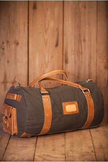 Holston Washed Gray Canvas Duffle Bag for Men by Buffalo Jackson Trading Co
