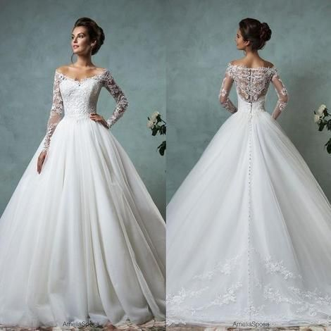 2019 Frühling A-Line Brautkleider mit schulterfreiem Ausschnitt Lange Ärmel Sheer Lace Backless Ball Brautkleider Plus Size, F0447 #bridalshops