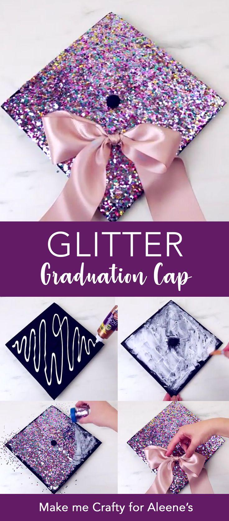 3 Ways to DIY a Graduation Cap – glitter grad cap, rhinestone grad cap, and glow
