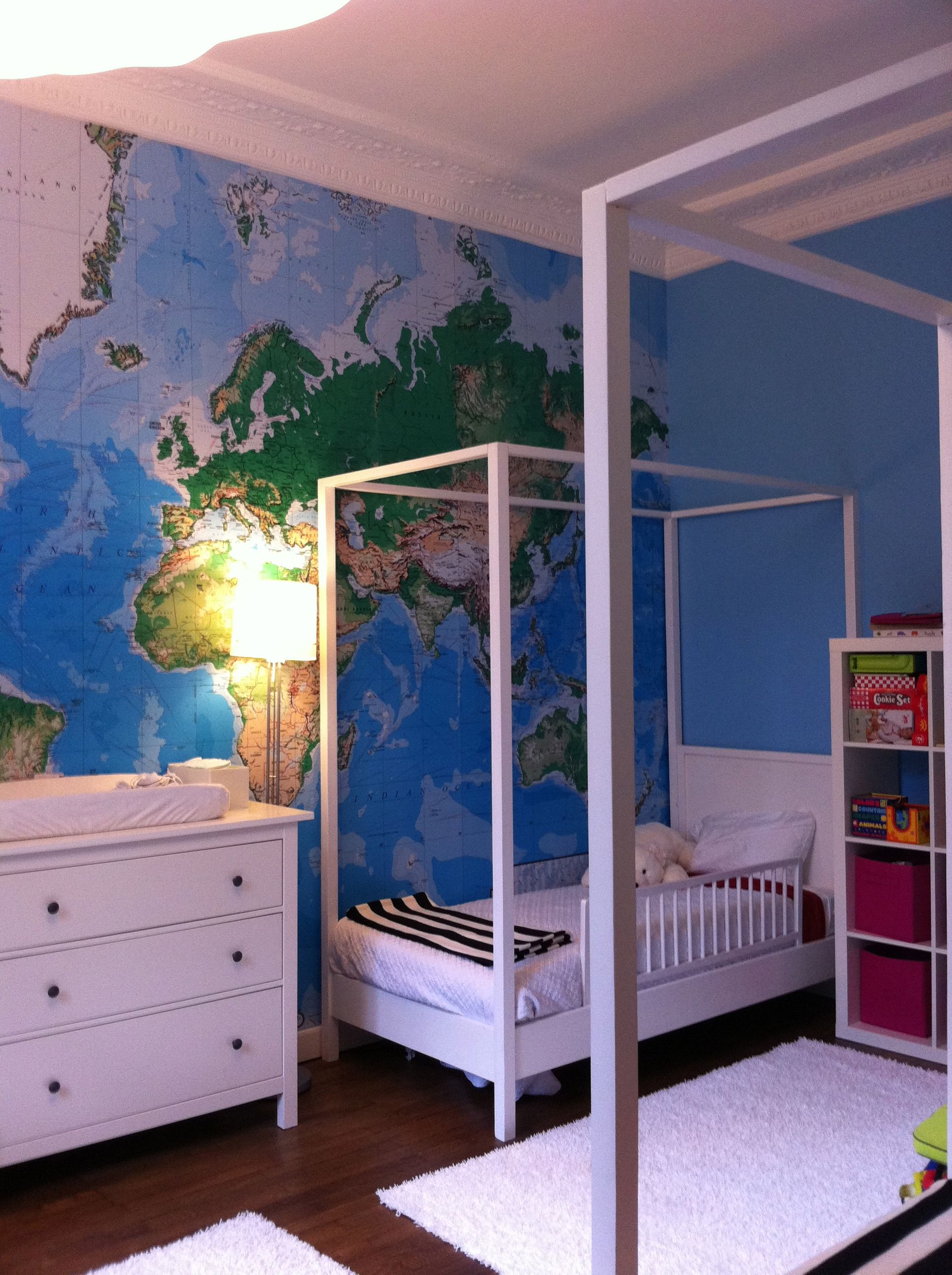 Kids Room Wallpaper Designs: White Furniture With Giant World Map Wallpaper