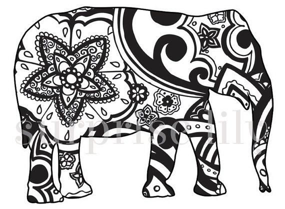 Animal And Pets Floral Coloring Page Book Digital Printable For Adults And  Children Zentangle Henna Designs Giraffe Cat Elephant Dog Turtle April 2014  At