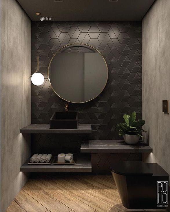 Gäste WC schwarz - Dark mood bathroom