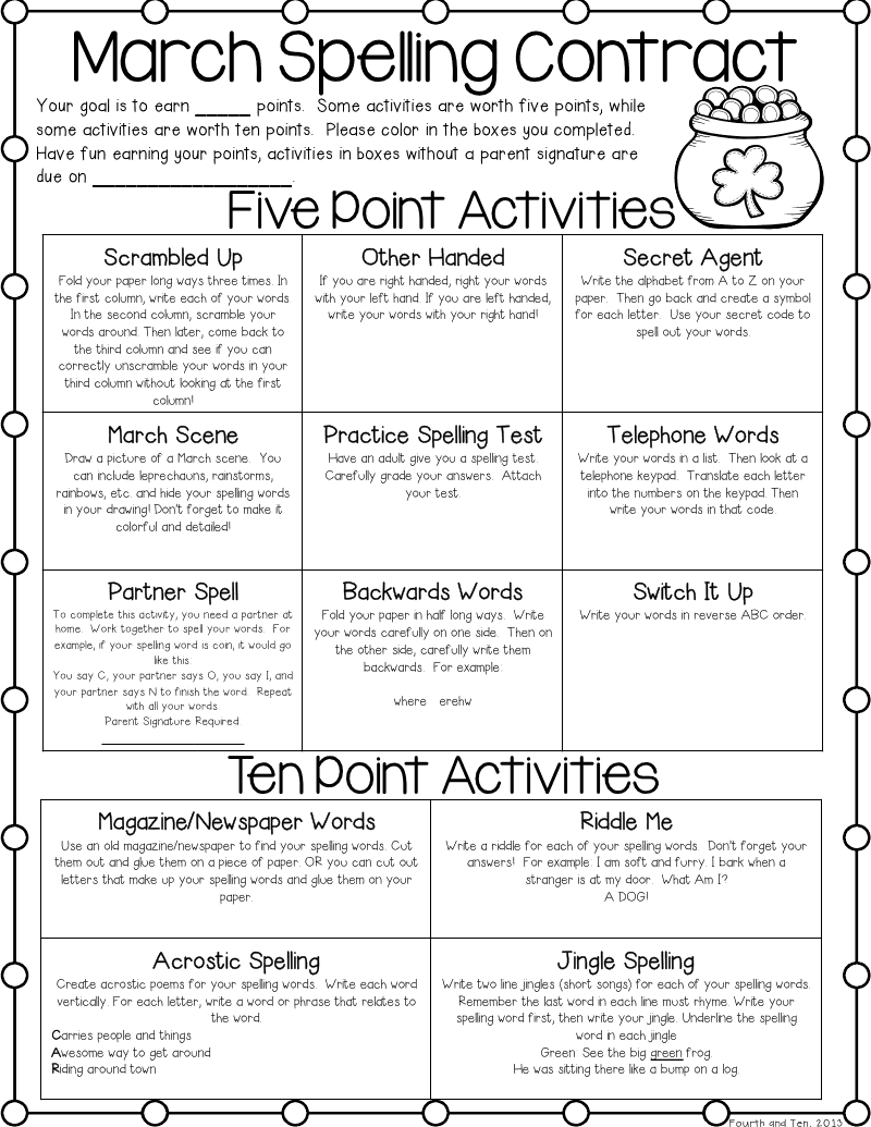 March Contractpptx Classroom Reading Writing Pinterest