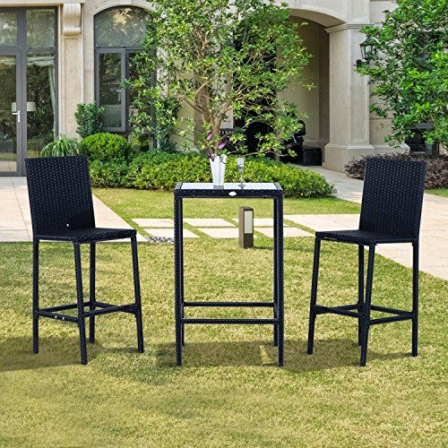 Outsunny 3pc Patio Rattan Bistro Set Barstool Table Wicke... https ...