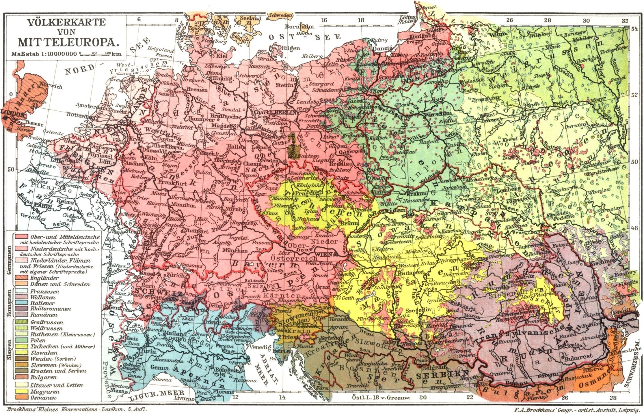Ethnic map of Central Europe (1901) | mapmania | Pinterest | Central ...