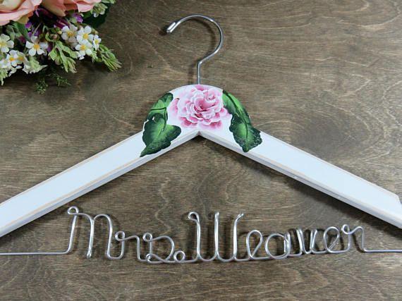 Wedding Dress Hangers - Bridal Hanger - Mrs Wedding Hanger - Painted ...