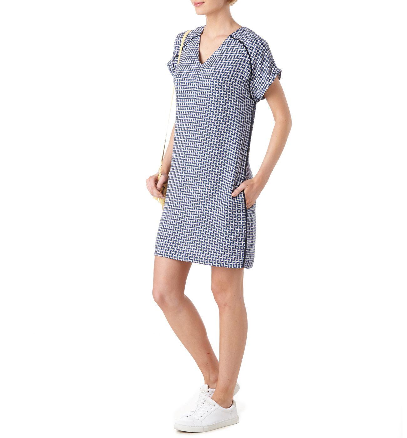 e94b0400579 Robe droite imprimée Femme - Imprimé Marine - Robes - Femme - Promod ...