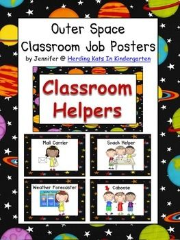 Classroom jobs signs with outer space themed backgrounds for Jobs in outer space