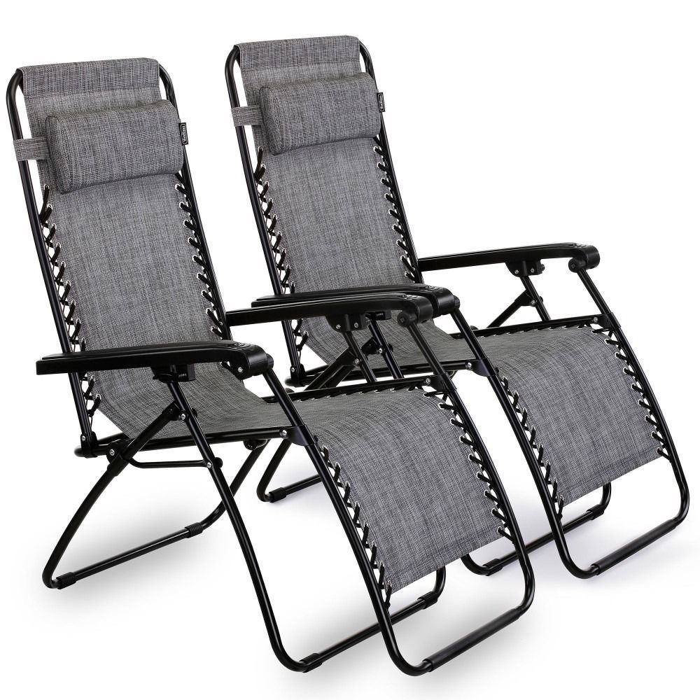 Patio Reclining Chairs Set Of 2 Garden Outdoor Seat Balcony Folding Furniture Reclining Sun Lounger Zero Gravity Chair Outdoor Seat