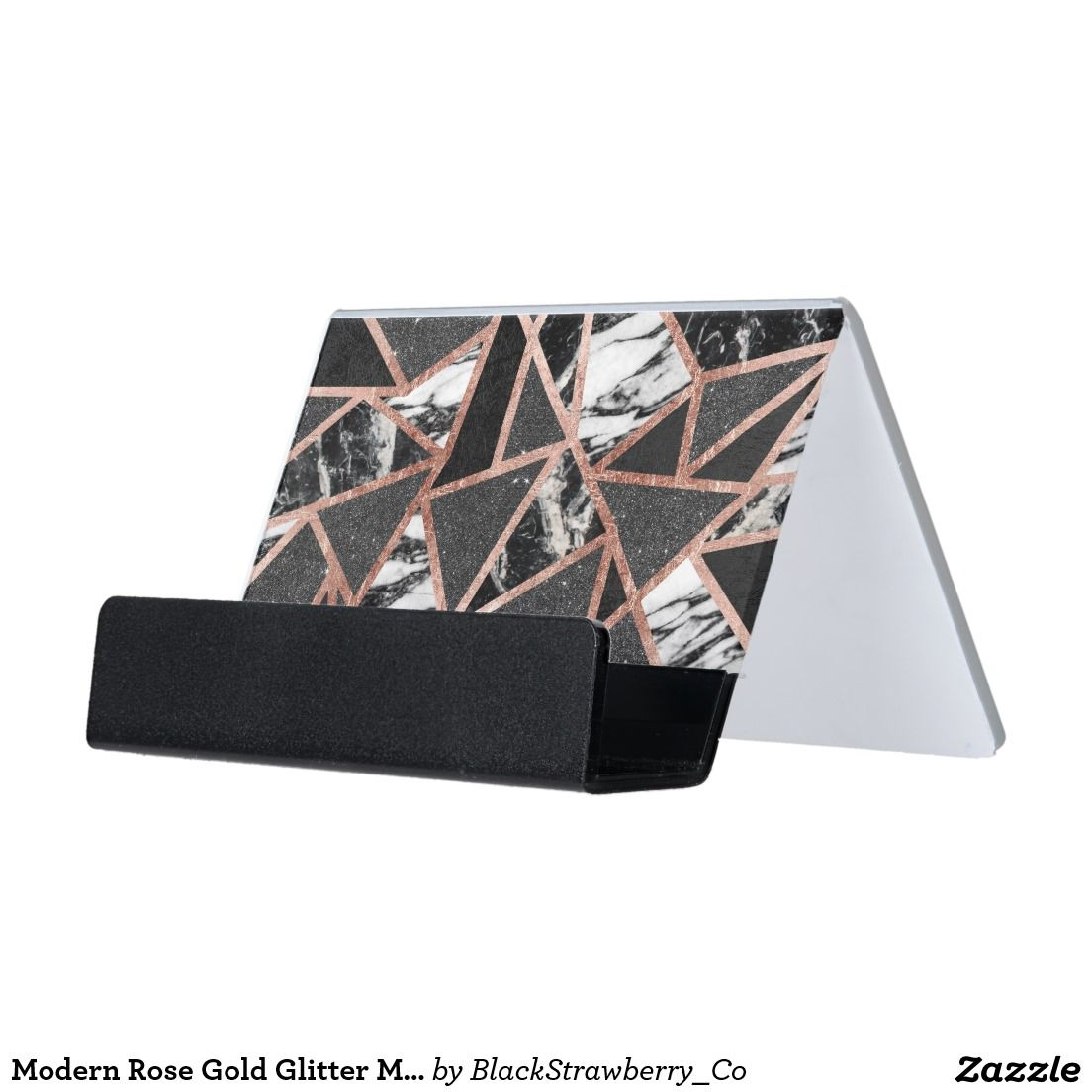 Modern Rose Gold Glitter Marble Geometric Triangle Desk Business ...