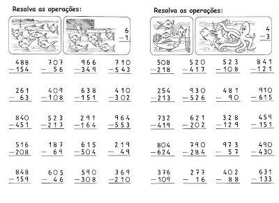 Calculos Subtracao Com Reserva Atividades De Subtracao