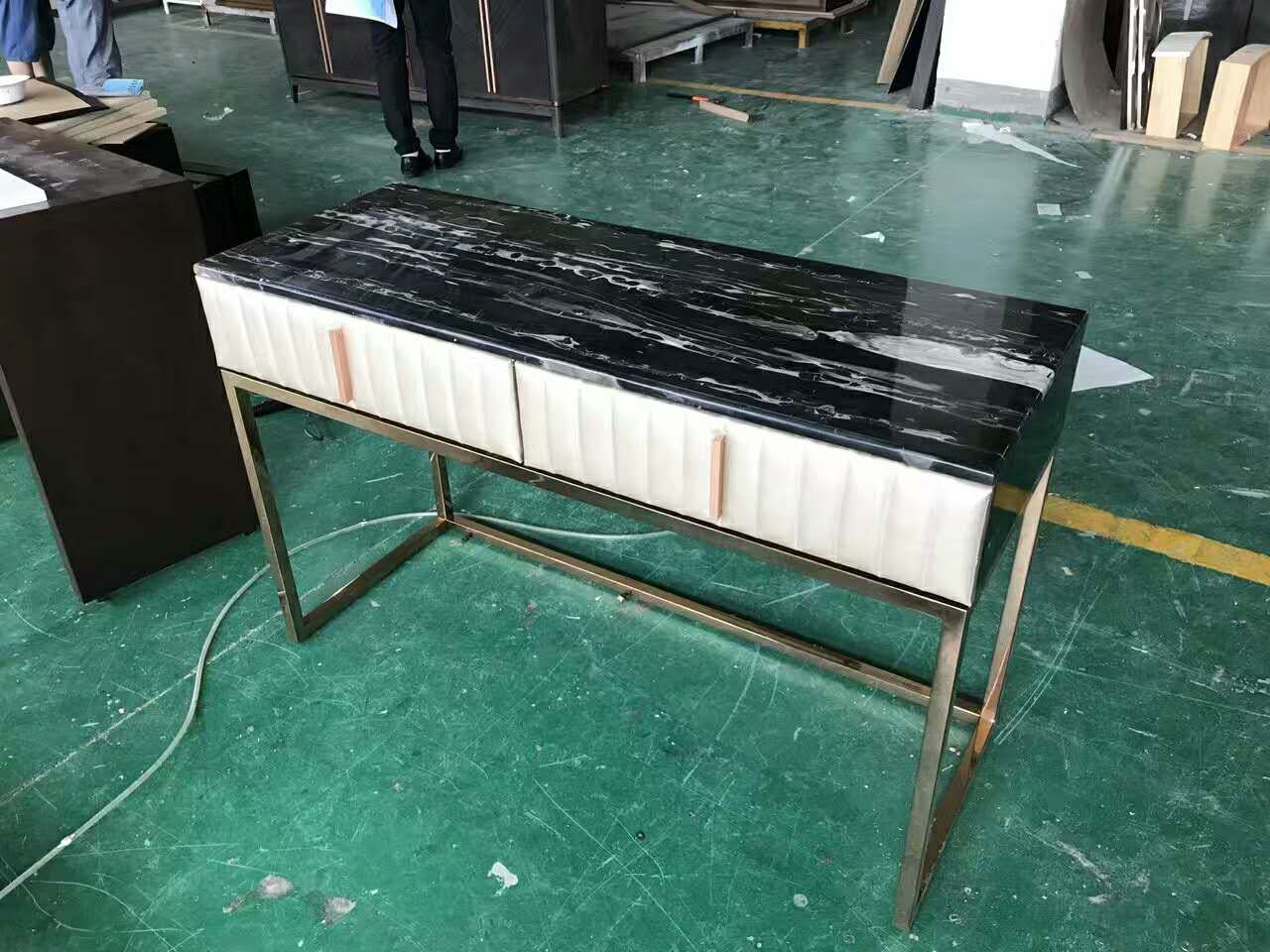 Office Desk With Marble Top And Stainless Steel Base  Whatsapp:0086 13611769803