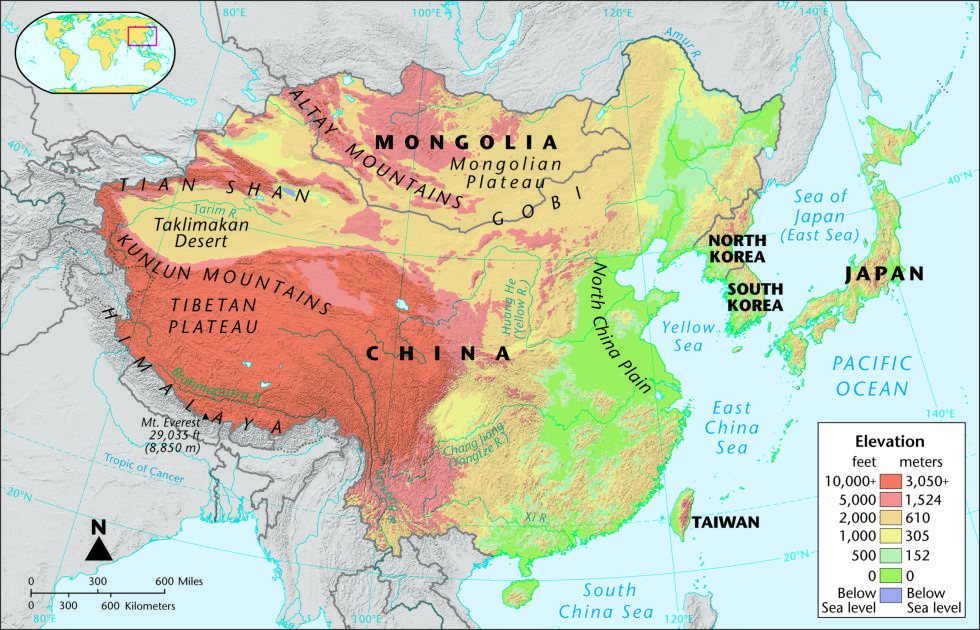 Map_EastAsia_Physical | Middle History - China | Geography of ... on