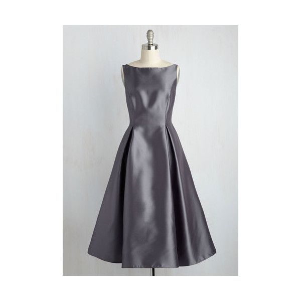 Vintage Inspired Long Sleeveless Fit & Flare Careful What You Lavish... (195 AUD) ❤ liked on Polyvore featuring dresses, apparel, grey, grey sleeveless dress, pleated dress, gray dress, boat neck dress and vintage style dresses