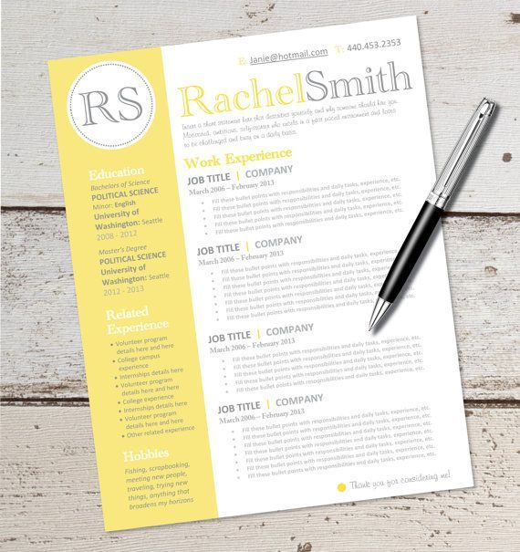 INSTANT DOWNLOAD   Resume Design Template   Microsoft Word, Editable,  Yellow, Black,