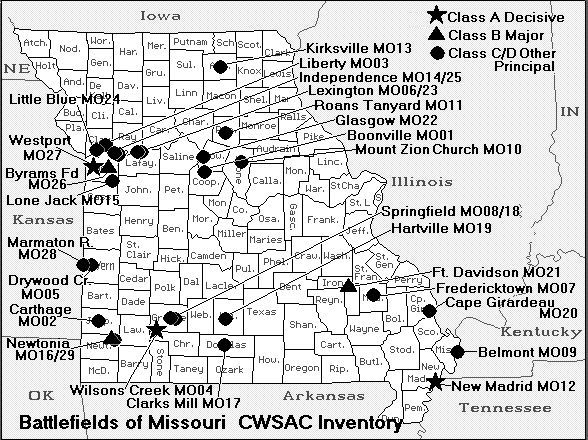 Map of Civil War battles in Missouri gif | Military