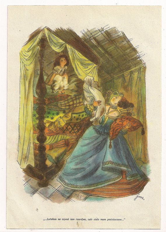 Vintage Book Ilration The Princess And Pea Fairy Tale From Https Www