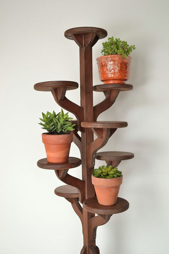 199 vintage tall handmade wooden tiered plant stand