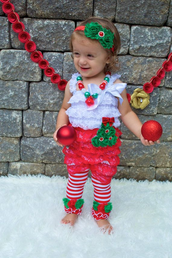 Red White Lace Petti Romper Christmas by AvaMadisonBoutique
