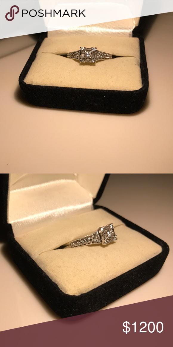 10K White Gold Engagement Ring