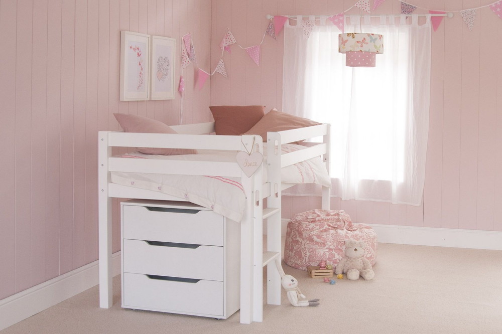 Classic Beech Mid Sleeper Bed with Chest of Drawers