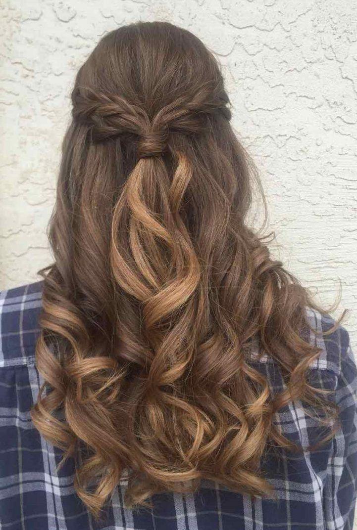 Half Up Braid Half Down Wedding Hairstyle Hair Color Chocolate Hair Styles Wedding Hair Down