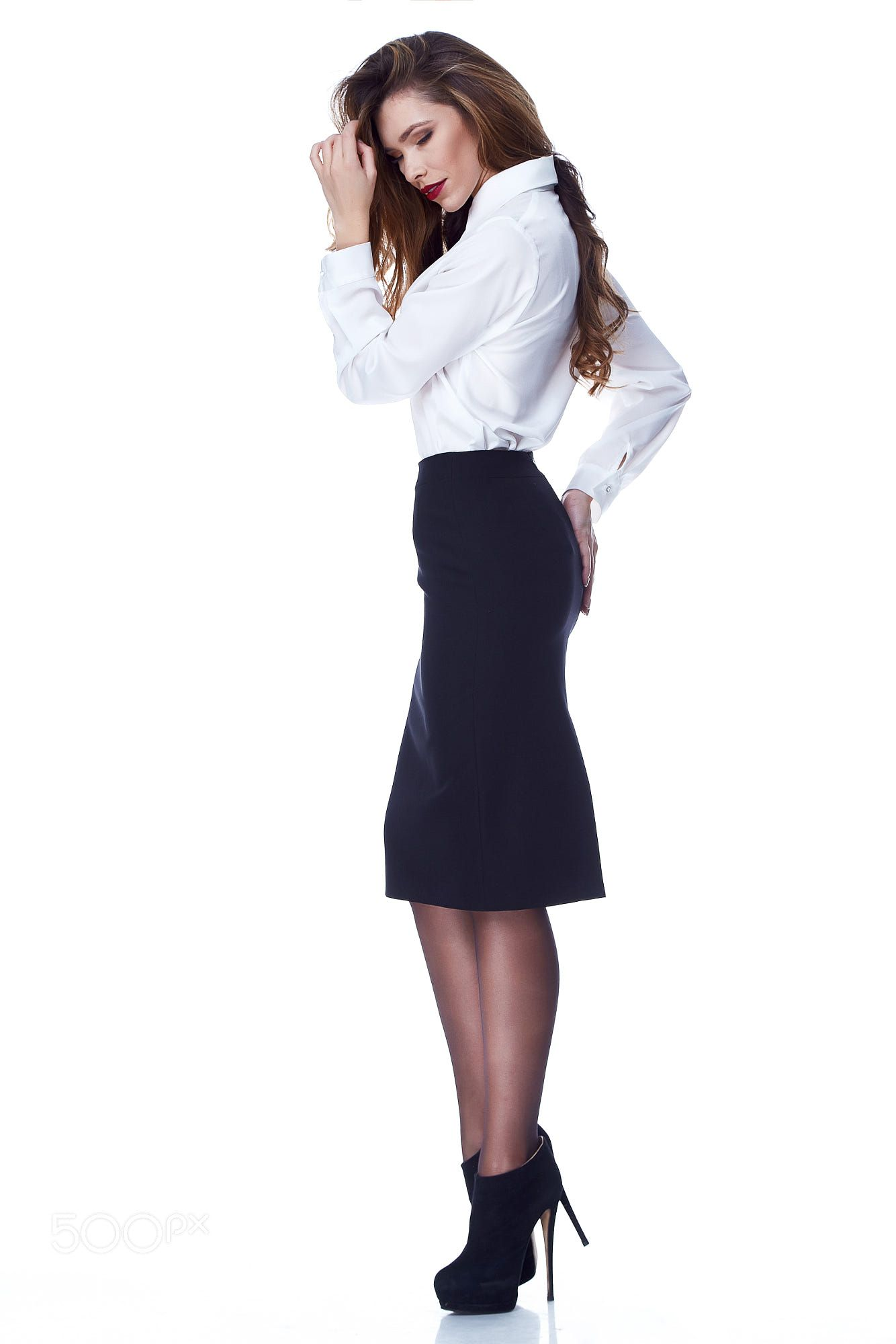 c2b47dfb2d Sexy brunette woman skinny business style dress skirt blouse perfect body  shape diet busy glamour lady casual style secretary diplomatic protocol  office ...