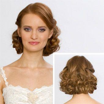 Medium-Length Curly Wedding Hairstyle   Curly wedding hairstyles ...