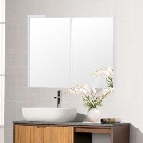 Costway 25 Wide Wall Mount Mirrored Bathroom Cabinet Medicine Storage Organizer 2 Door Bathroom Mirror Cabinet Wall Mounted Mirror Bathroom Cabinets