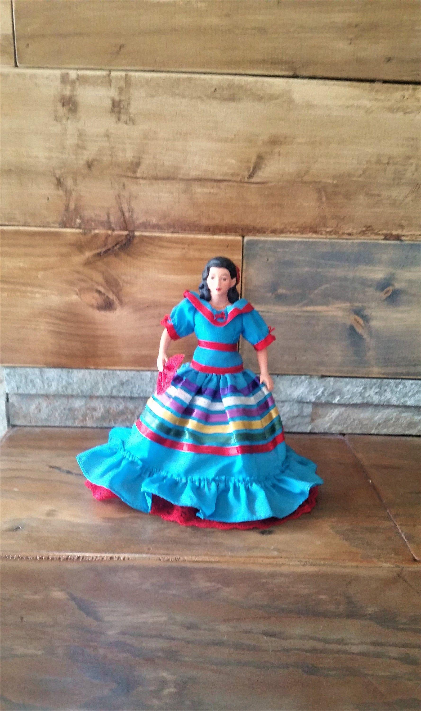 Vintage 1980's Spanish Flamenco dancer doll - traditional dressed doll - colourful vintage Spanish doll with stand - ceramic/plastic doll #spanishdolls