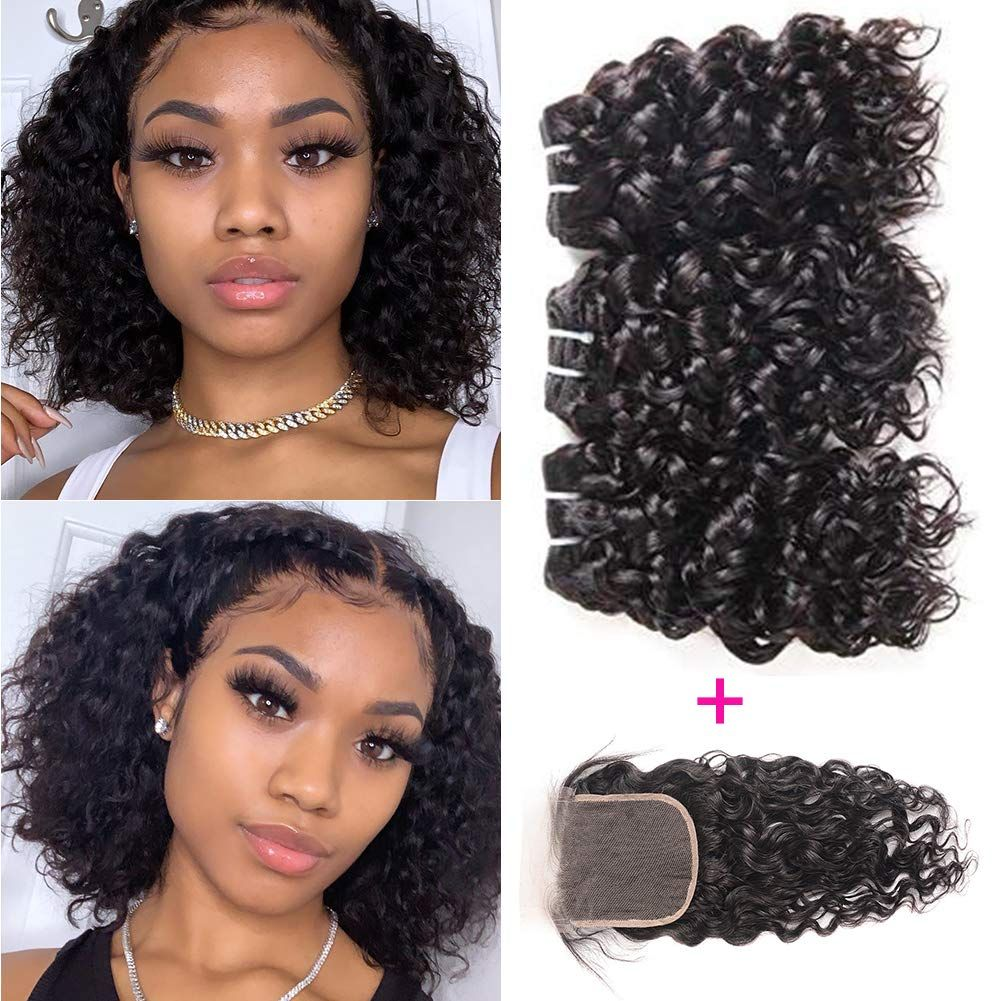 Ruixian Brazilian Virgin Water Wave 3 Bundles With Closure 100