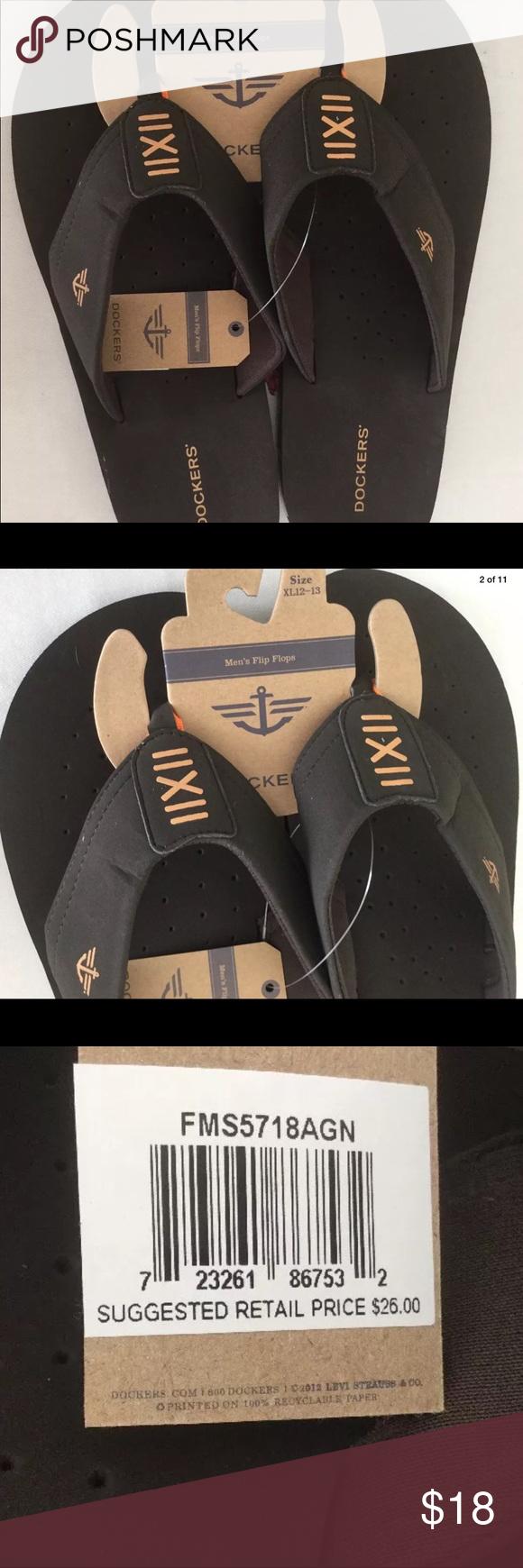 0f73c4b9e3b Men s DOCKERS Flip Flops Brown Sandals Sz XL New NWT