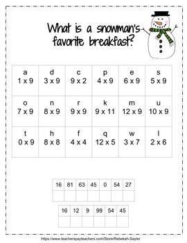 Single Digit Multiplication Winter Jokes Solved With Multiplication 3rd Grade Math Winter Jokes Learning Math