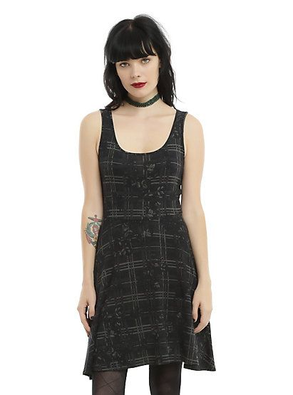 Black & Grey Floral Plaid Skater DressBlack & Grey Floral Plaid Skater Dress, BLACK