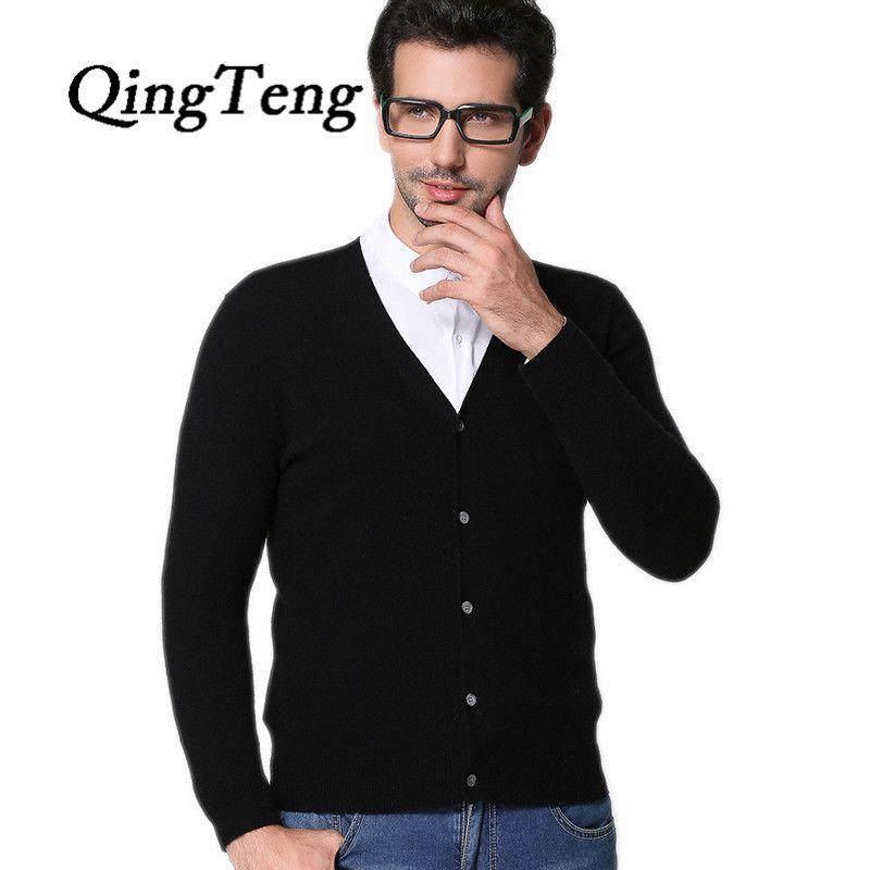QingTeng 2016 Autumn Men's V Neck 100% Cashmere Cardigan Solid Flat-knit Wool Knitting Men Fashion Sweater Black