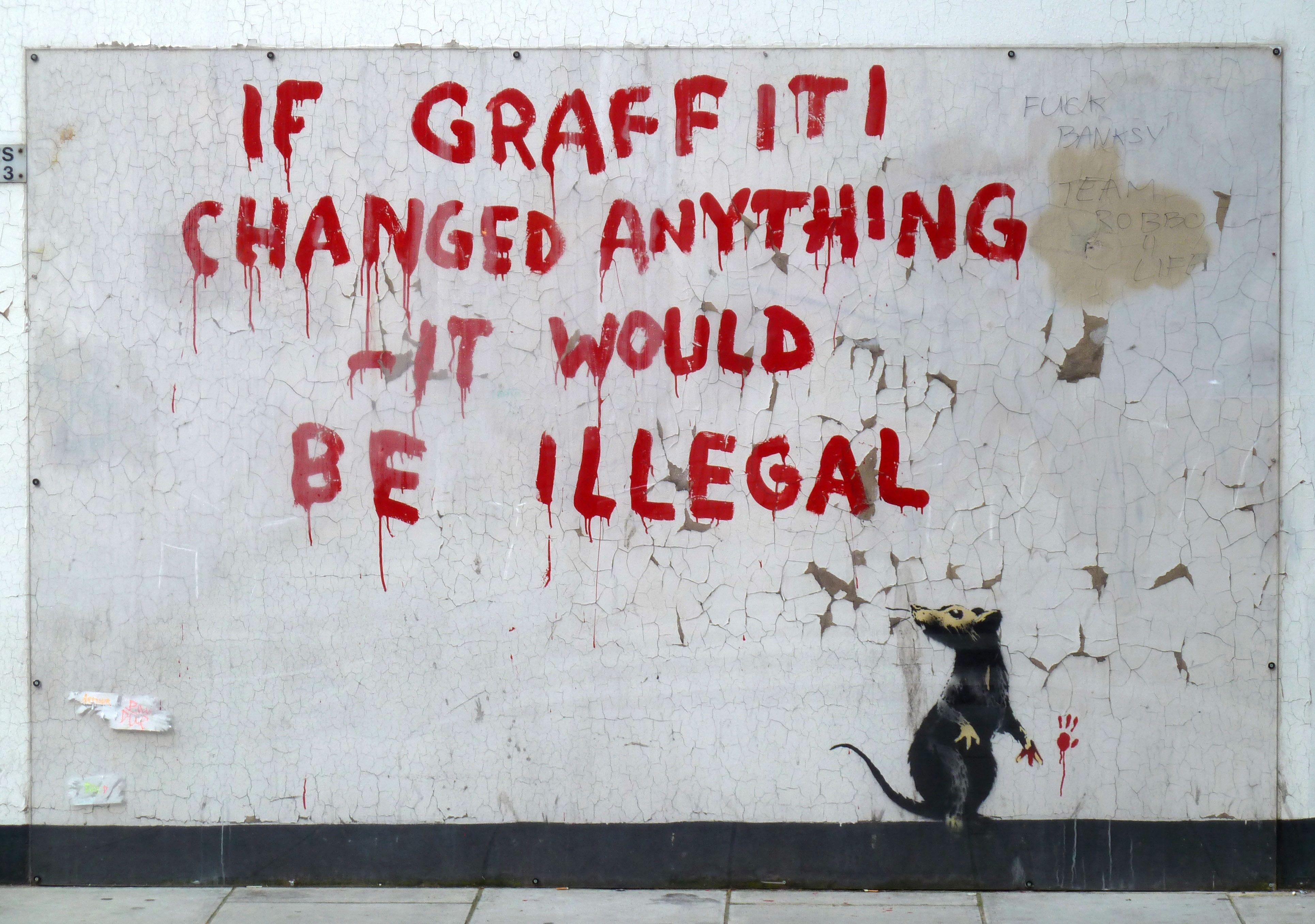 """Street Fight"" Street art banksy, Banksy graffiti"