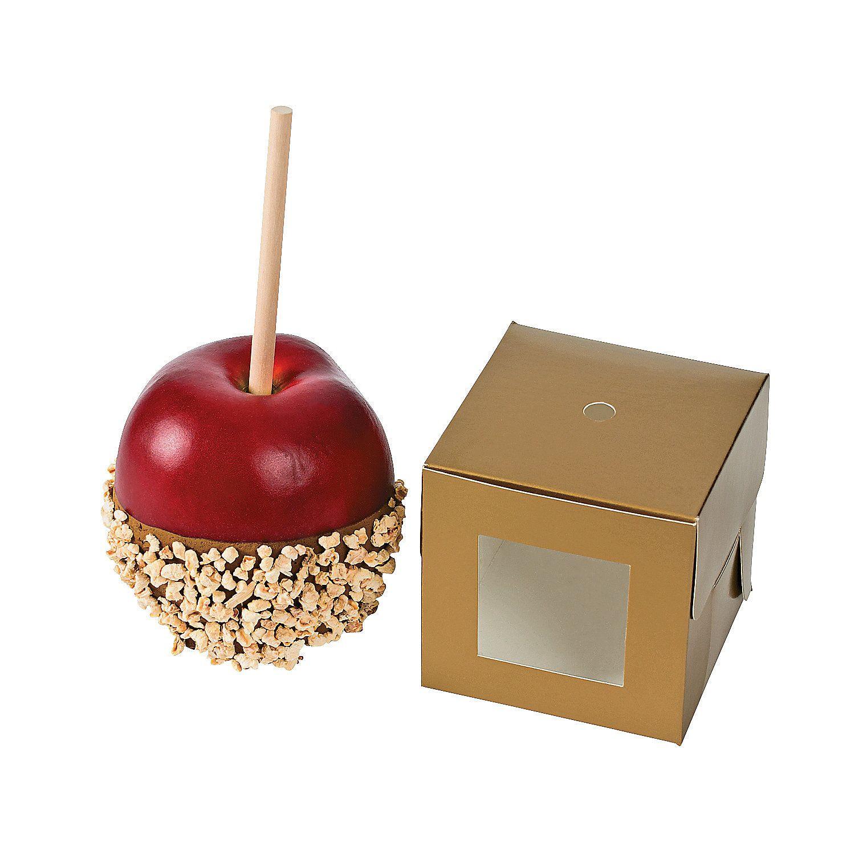 Gold caramel apple boxes caramel apples caramel apple
