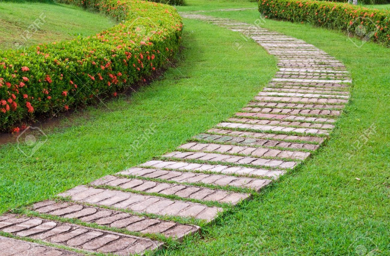 7773942 garden stone path with grass stock photo garden for Stone path in grass