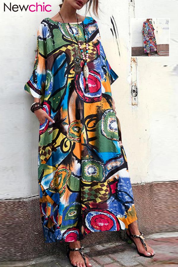 Women Batwing Floral Long Shirt Ethnic Vintage Loose Baggy Kaftan Tunic Plus
