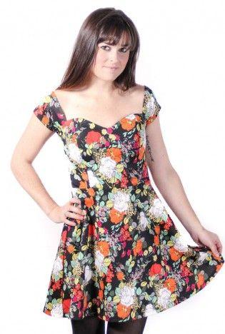 Floral Cap Sleeve Fit & Flare Skater Dress #floral #capsleeve #sweetheart #skaterdress #fitandflare #ustrendy